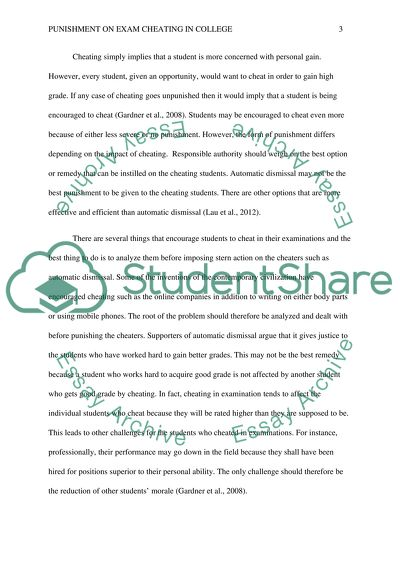Punishment on Exam Cheating in College Essay Example