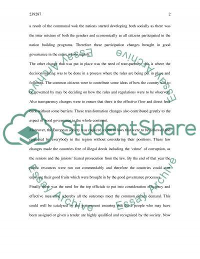 Governance essay example