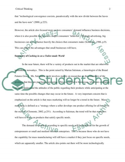 critical response on cashing in on a tailor made world essay critical response on cashing in on a tailor made world essay example