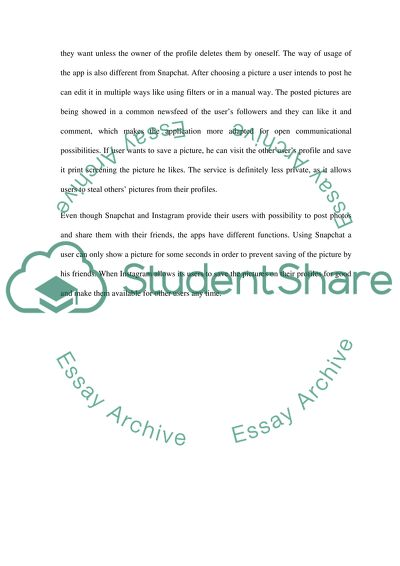Two different social networking (Snapchat and Instagram) Essay