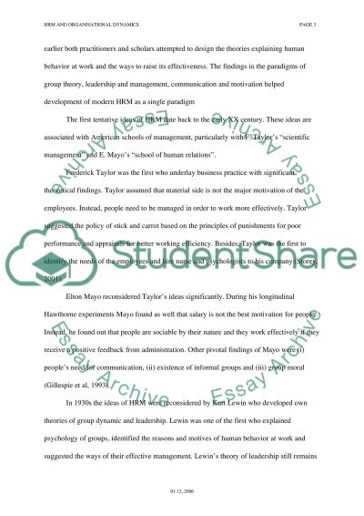 HUMAN RESOURCES MANAGEMENT AND  ORGANISATIONAL DYNAMICS Essay example