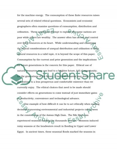 Obligations to Future Generations Essay example