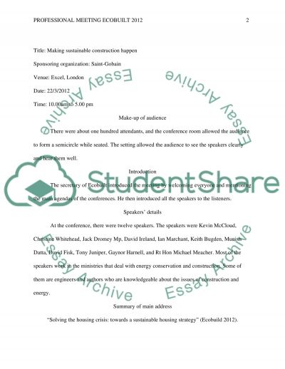 Professional Meeting ECOBUILT 2012 essay example