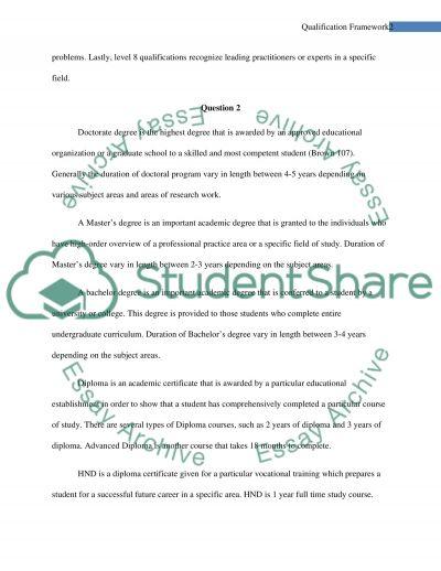 Qualificaiton Framework essay example