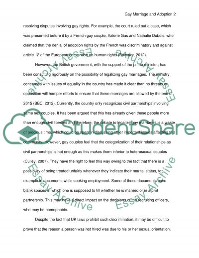 Gay Marriage and Adoption essay example