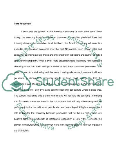 Summary and text response essay example