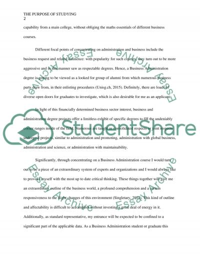 The purpose of studying essay example