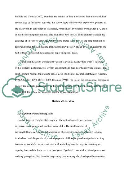 Development of hndwriting skills essay example