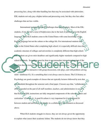 Challenges of ESL Students in American Universities