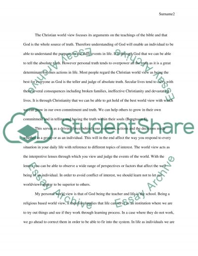 Personal World View essay example