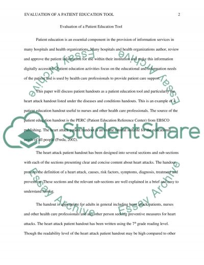 Evaluation of a Patient Education Tool essay example