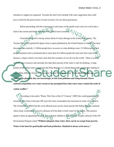 Water shortage essay