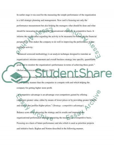 Critically evaluate and discuss Balanced Scorecard essay example