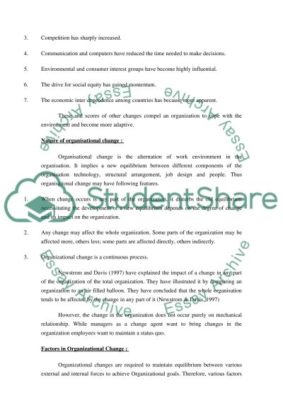 Managing Change in Contemporary Organization Essay example