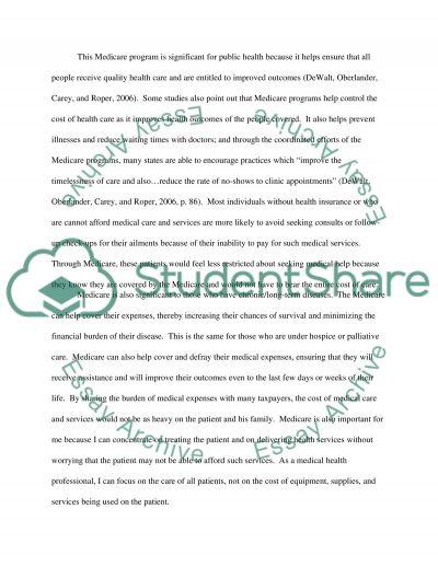 Medicare essay example
