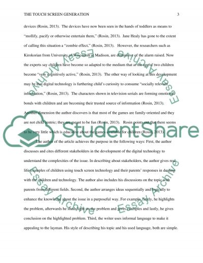 Analysis for the article The touch screen generation Essay Example ...