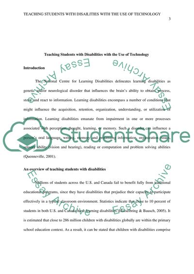 Teaching Students with Disabilities with the use of technology to support the learning process