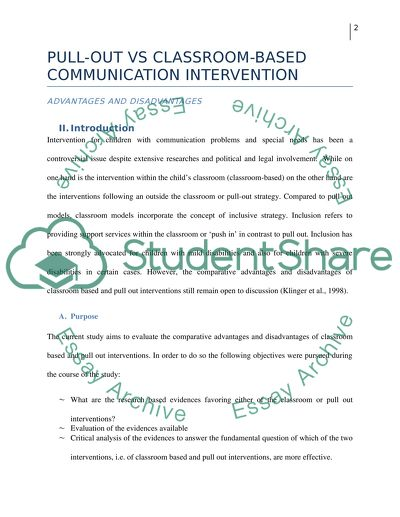 The Relative Advantages And Disadvantages of Pull-out vs Classroom-based Communication Intervention