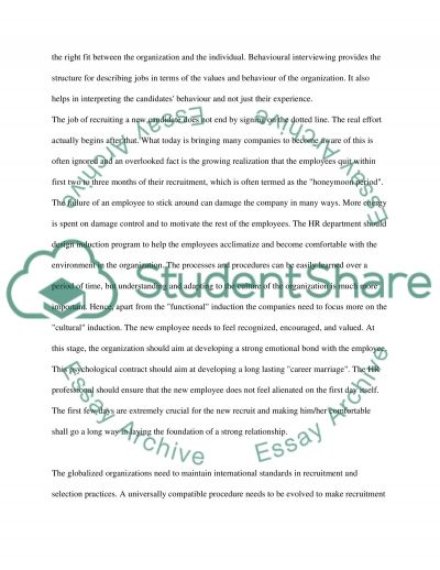 Recruitment and Selection Strategy essay example