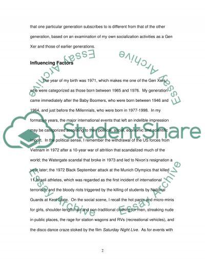 Socialization of Generation essay example