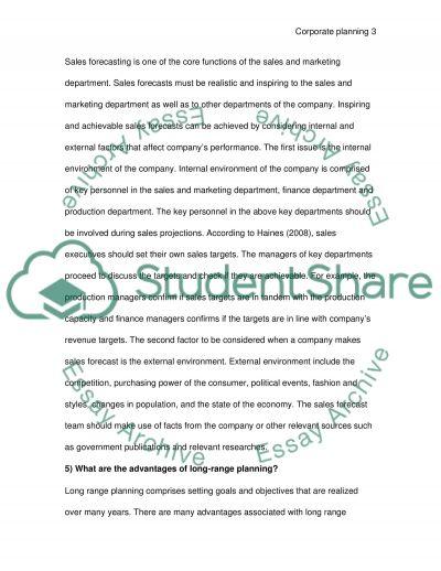 Corporate Planning essay example