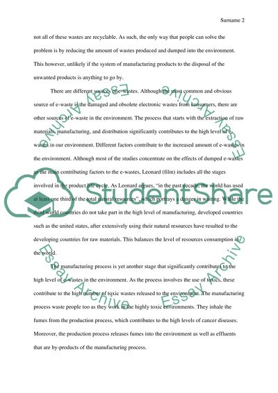 E waste essay