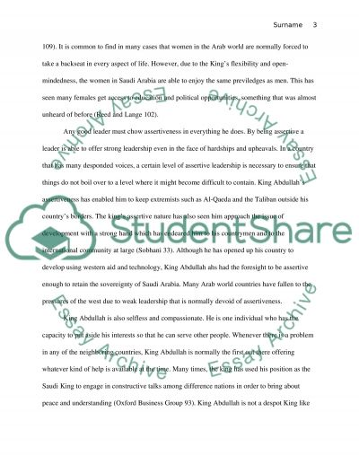 Paper subject leadership and the topic about king abdullah the king of saudi arabia essay example