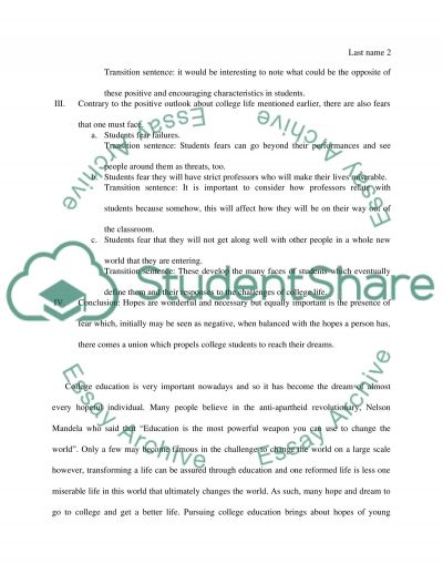 Hopes and fears for the college essay example