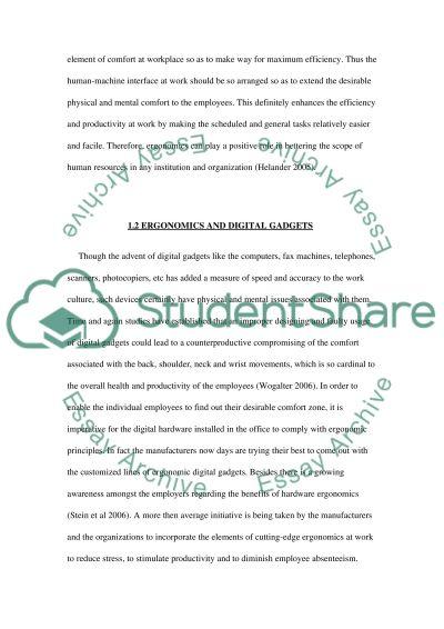 Ergonomics essay example