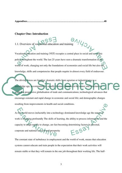 Vocational Education Training: Its Impact on Organizations essay example