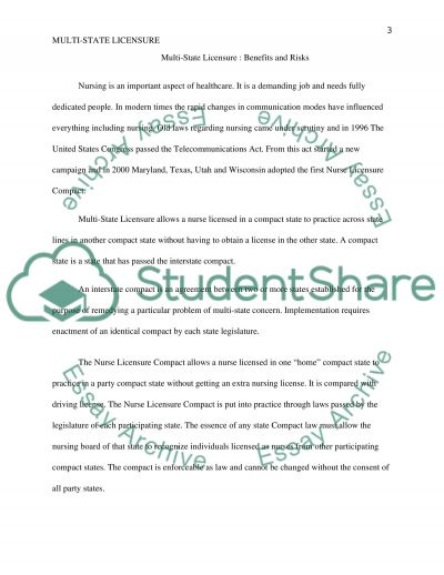 Multi-State Licensure: Benefits and Risks essay example