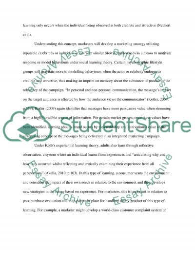 Consumer behaviour, learning and purchase decisions essay example