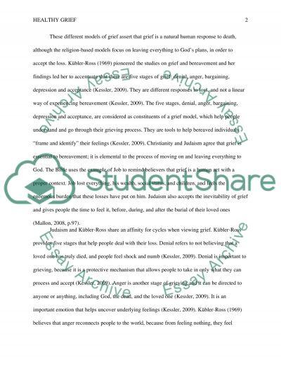 Healthy grief essay example