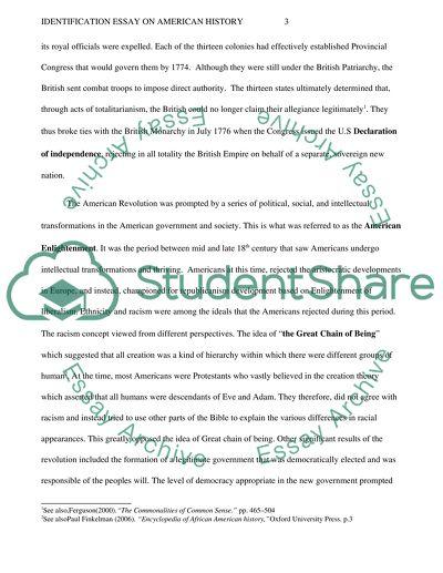 Identification Essay On American History Example  Topics And Well  Identification On American History  Essay Example
