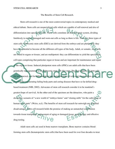 Benefits Of Stem Cell Research Essay Example  Topics And Well  Benefits Of Stem Cell Research