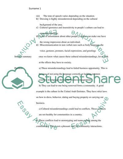 cultural misunderstanding essay example  topics and well written