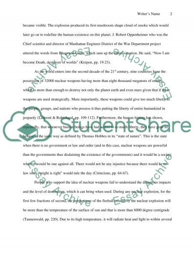 Ethical Consideration of Using Nuclear Weapons Essay example