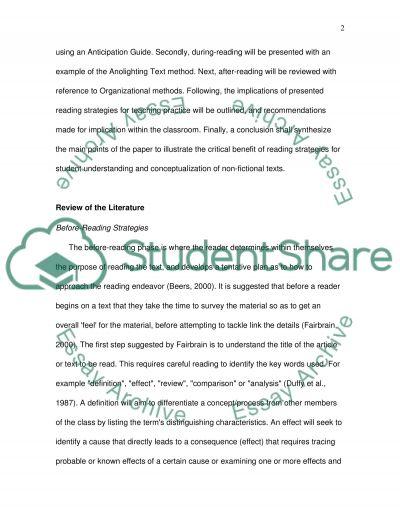 Reading Strategies essay example