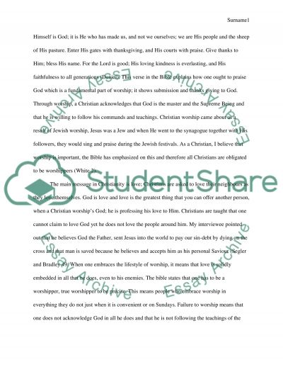 Interview & Research Paper Christianity essay example