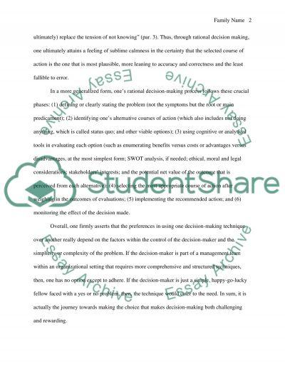 Decision Making essay example