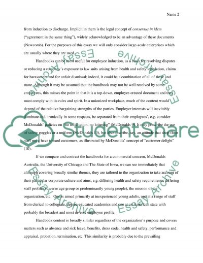 The Impact of the Employee Handbook on Organizations essay example