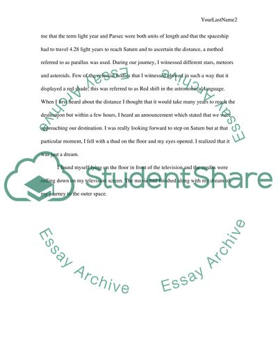 My Journey to outer space Essay Example | Topics and Well Written ...