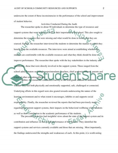 Audit of School Community Resources and Supports essay example