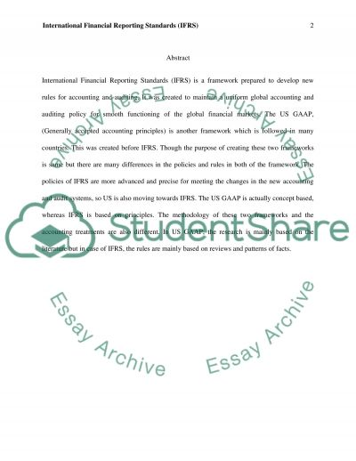 International Financial Reporting Standards (IFRS) essay example