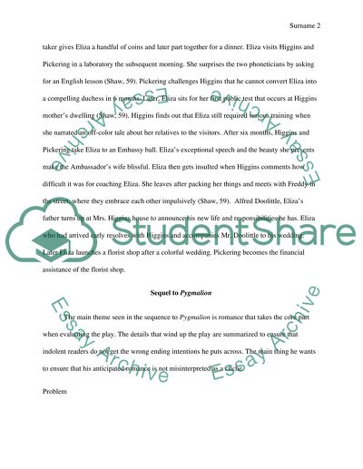 Pygmalion Essay - Free Essay Example