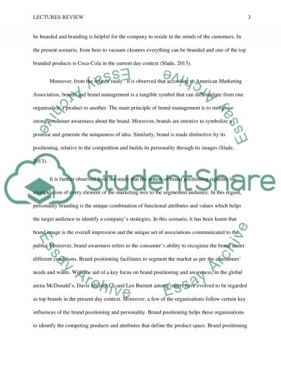 Lectures review essay example