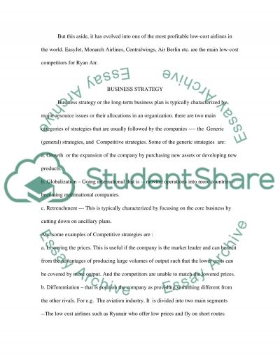 Business Strategy of Ryan Air essay example