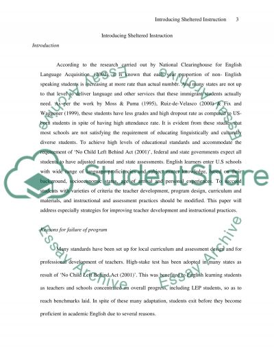 Introducing Sheltered Instruction essay example