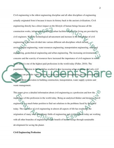 Civil Engineering Assignment essay example