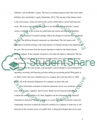 Financial statements paper essay example